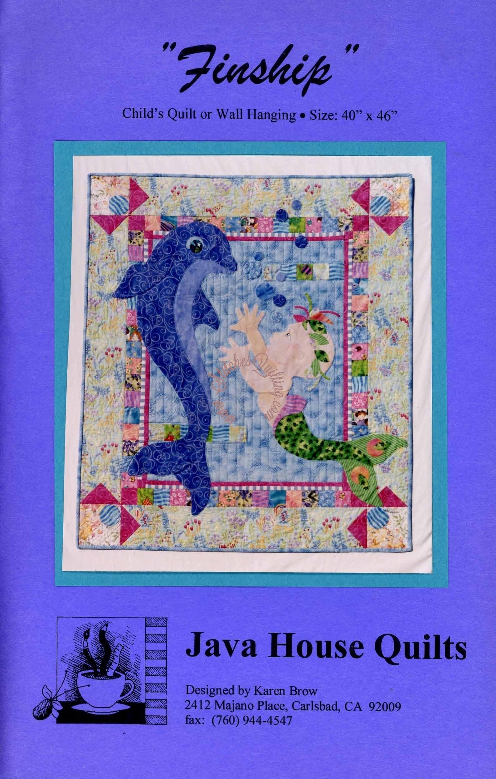 Finship Dolphin Mermaid Quilt Pattern Karen Brow Java