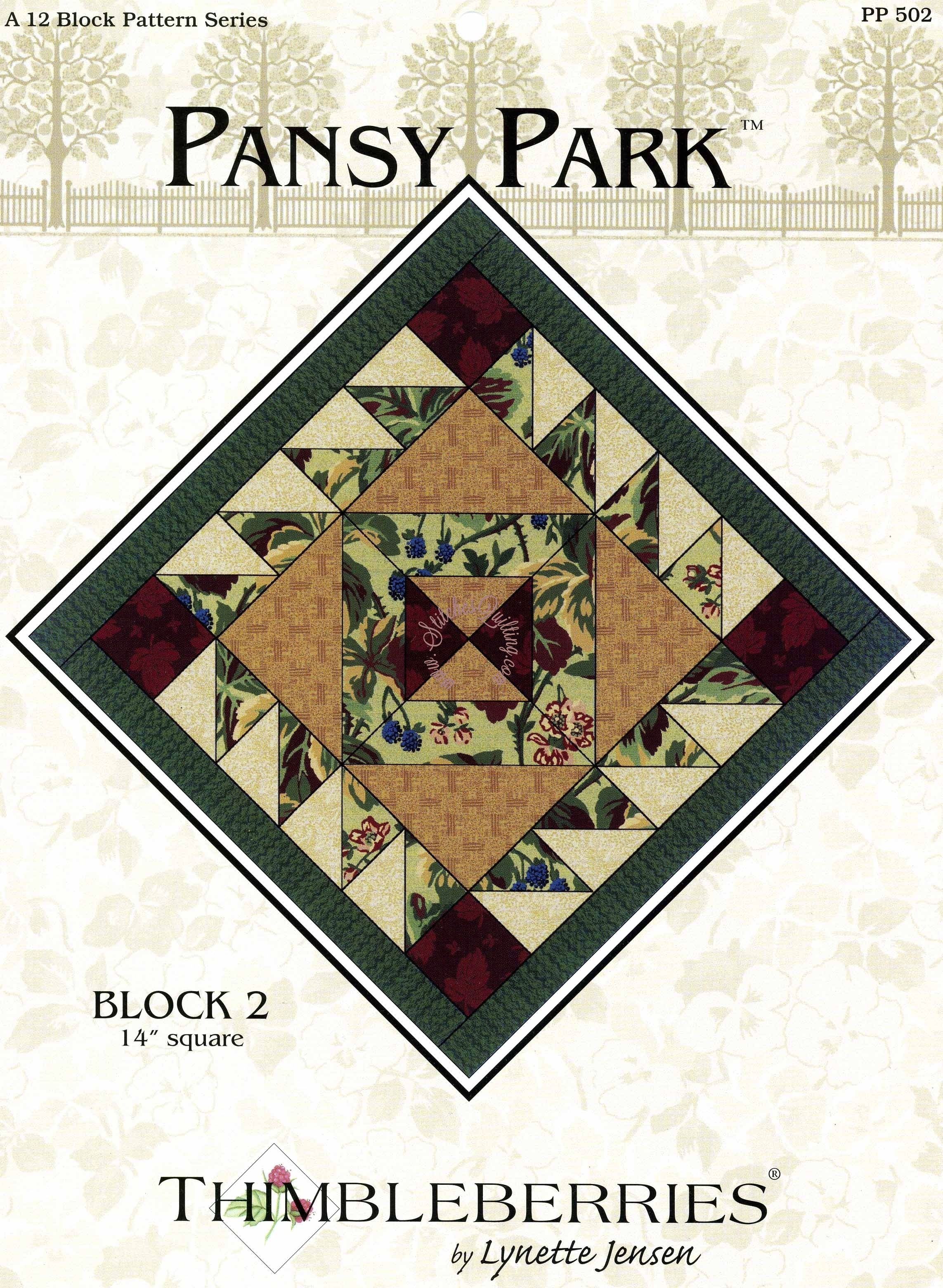 Thimbleberries Pansy Park Pattern Block 2 Stitches Quilting