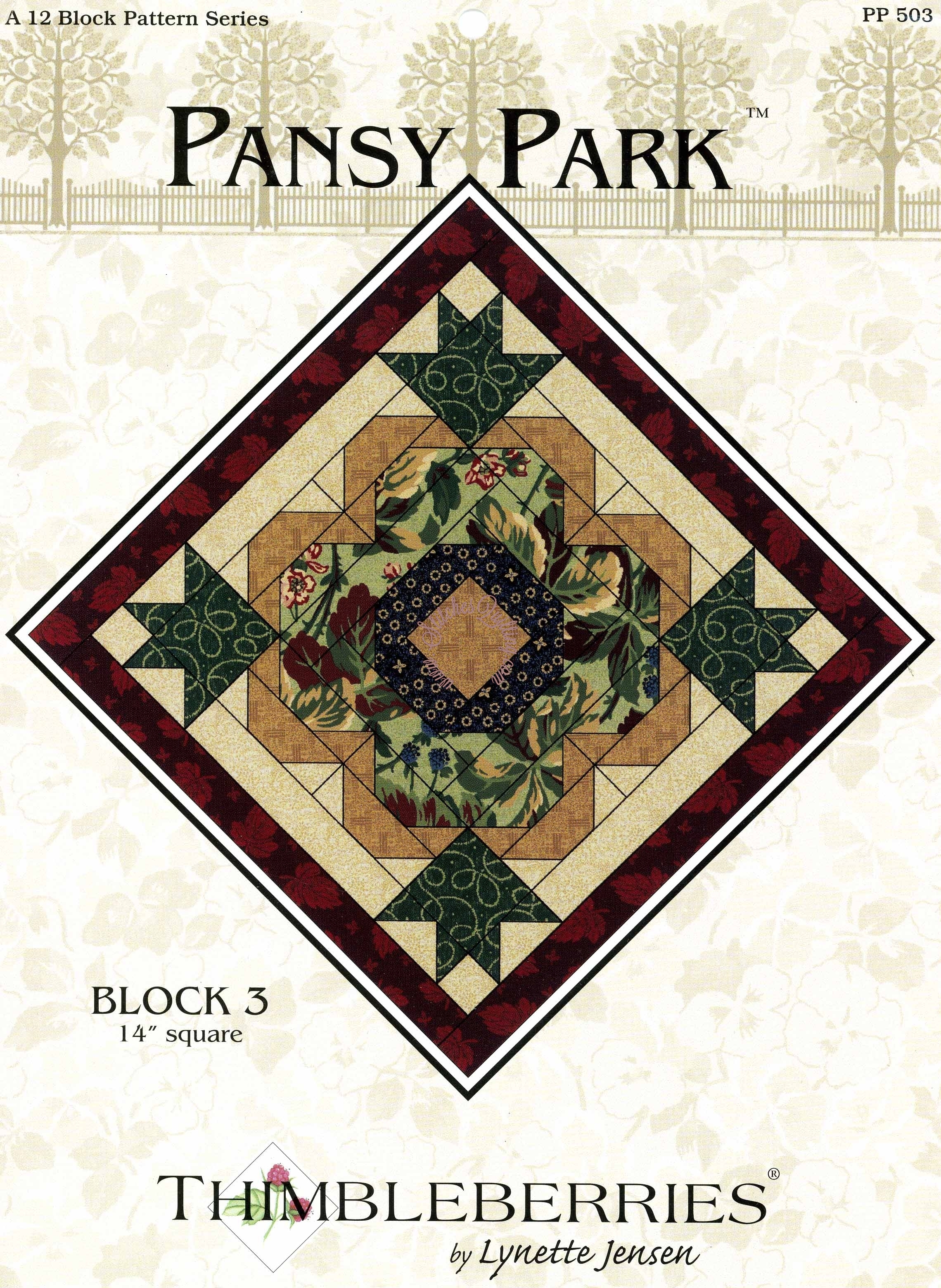 Thimbleberries Pansy Park Pattern Block 3 Stitches Quilting