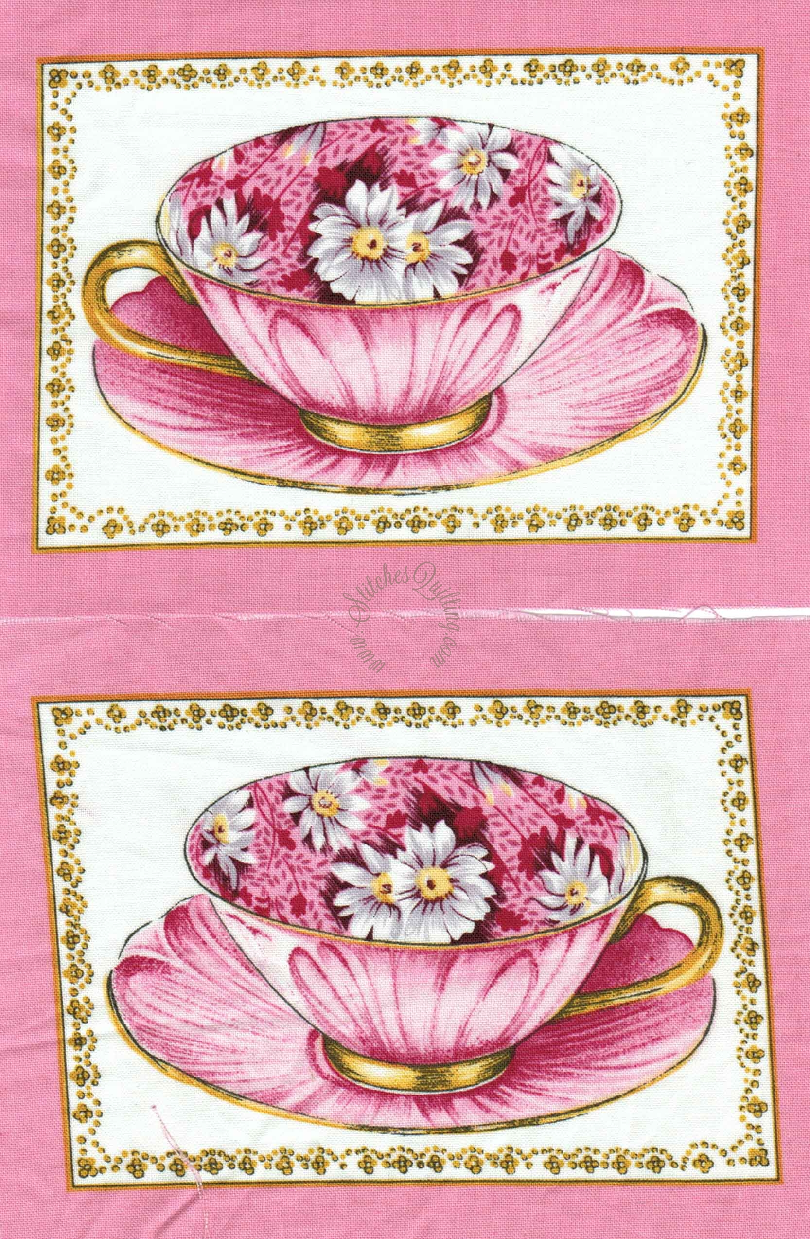 Rare Royal Doulton Tea Cup Quilt Kit Stitches Quilting