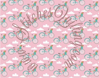 Teal Bikes Pink Background Fancy Free Collection for Riley Blake C4061 Pink