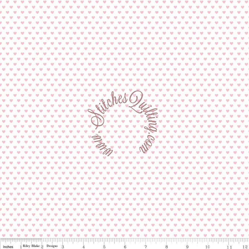 RBPink Heart on White C4075 PINK Riley Blake