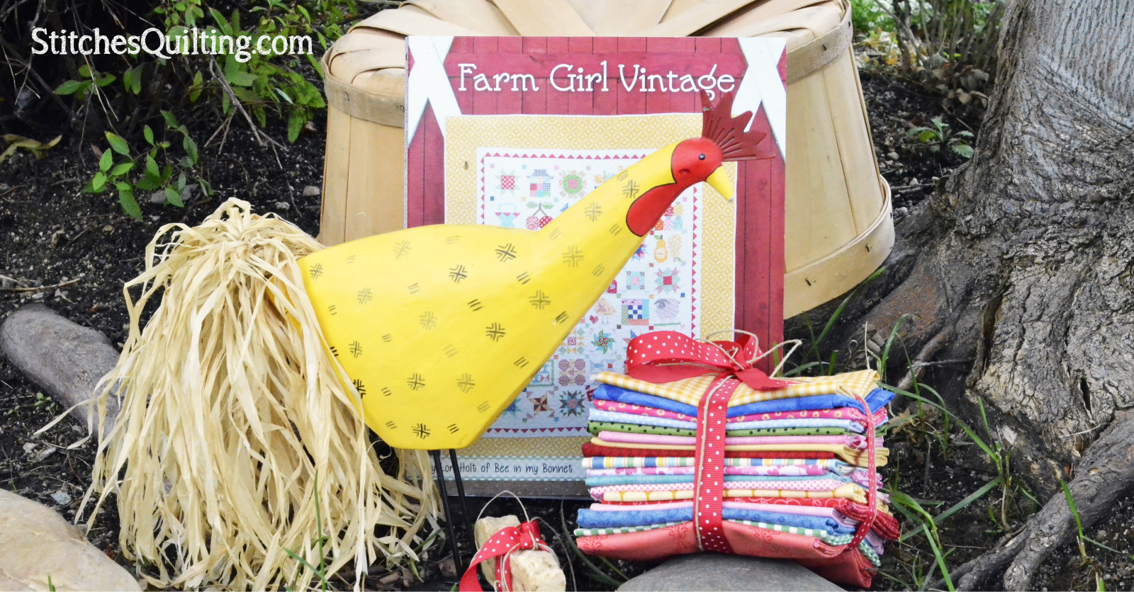 Farm Girl Vintage by Lori Holt Book and 18 piece Fat Quarter Collection