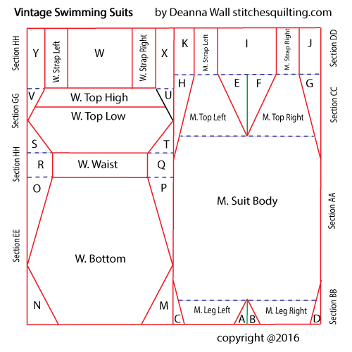 Vintage Swimming Suits Quilt Block Pattern