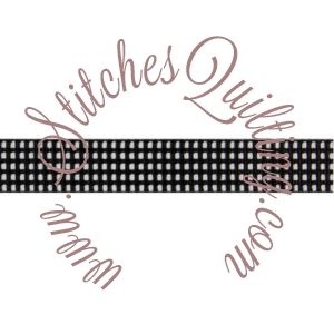 Black Gingham Grosgrain 5/8 Inch Wide Ribbon