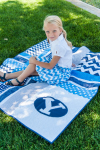 Going to lots of sporting and school activities? Make this simple quilt to stay warm and rest on in your school colors.