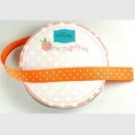 Orange Mini Dots Grosgrain 5/8 Inch Wide Ribbon
