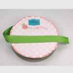 Lime Polka Dot Grosgrain 5/8 Inch Wide Ribbon