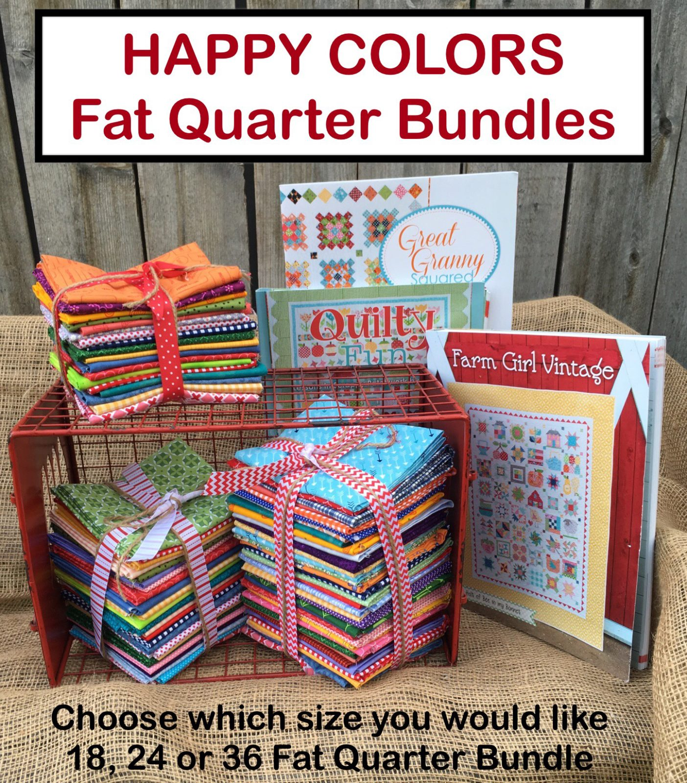 HAPPY COLORS Fat Quarter Bundle for Farm Girl Vintage Quilty Fun or Great Granny Squared