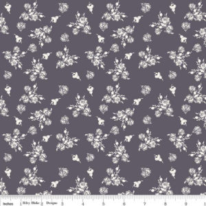 White Floral on Gray Think Pink Riley Blake C3702