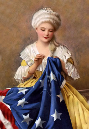 Betsy Ross stitching American flag