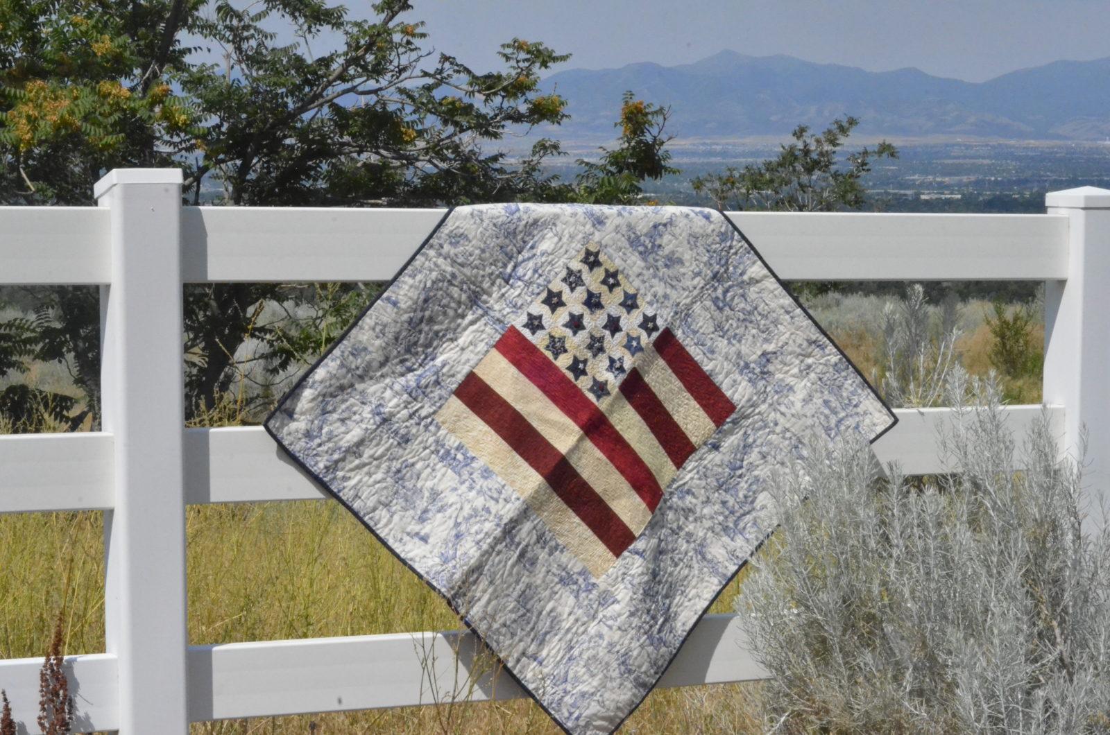 America Flag Patriotic Quilt with Toile Fabric