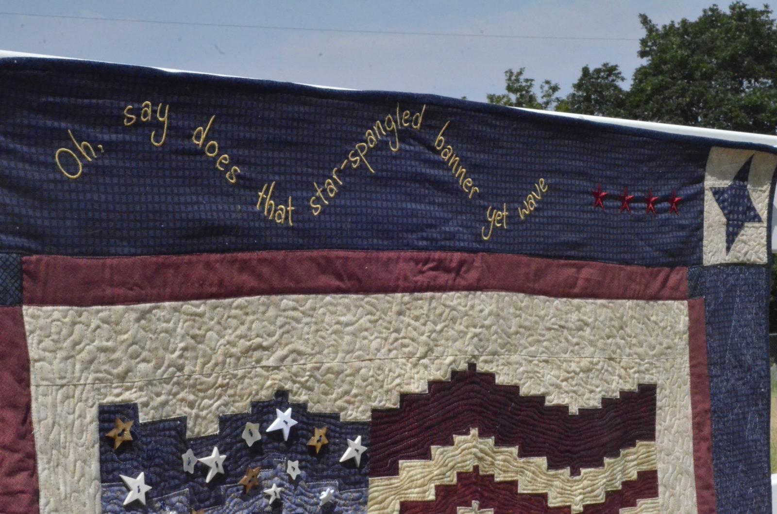 Star Spangled Banner Embroidered on Flag Quilt