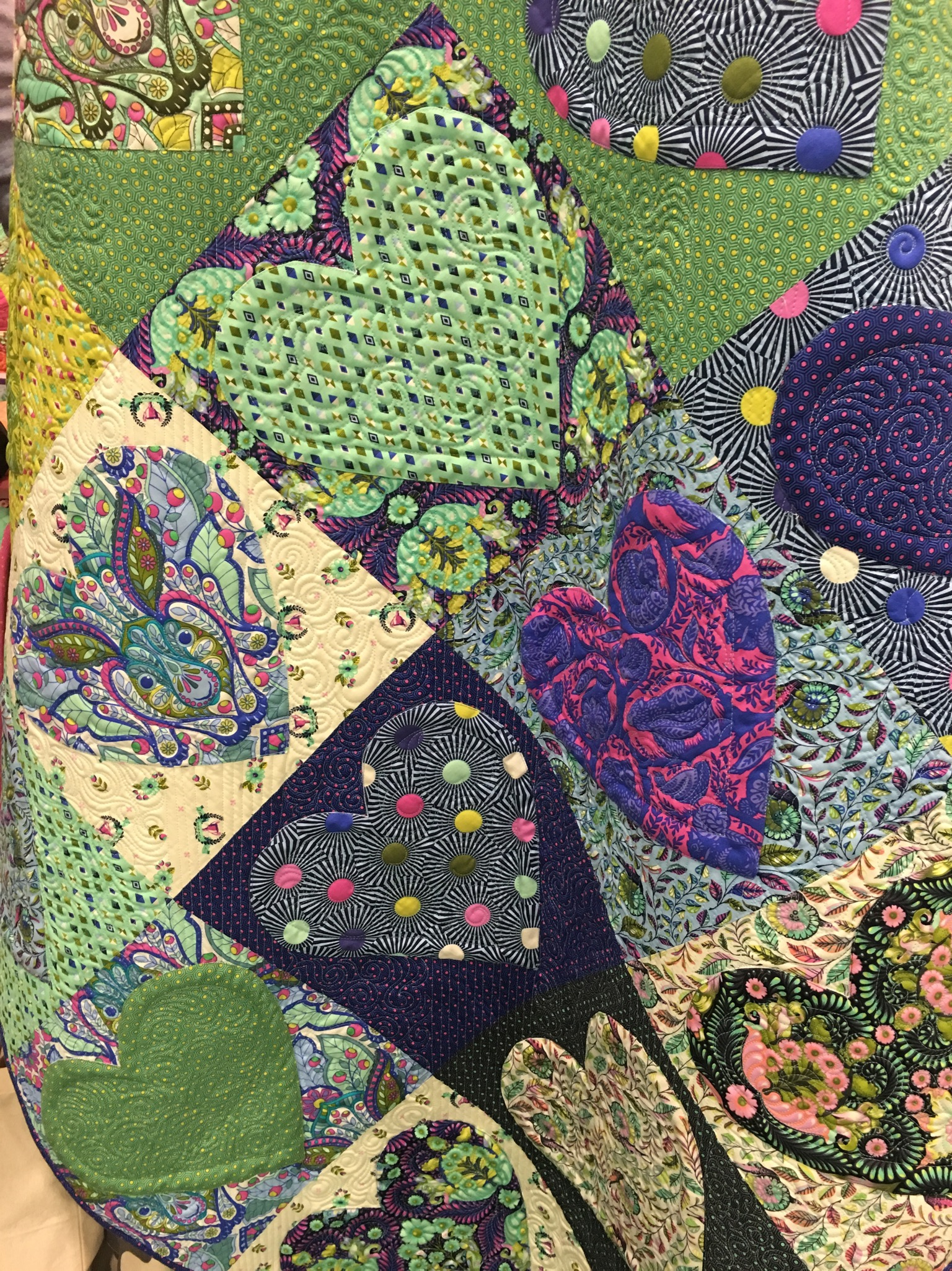 Close Up of Heart Quilt Slow and Steady