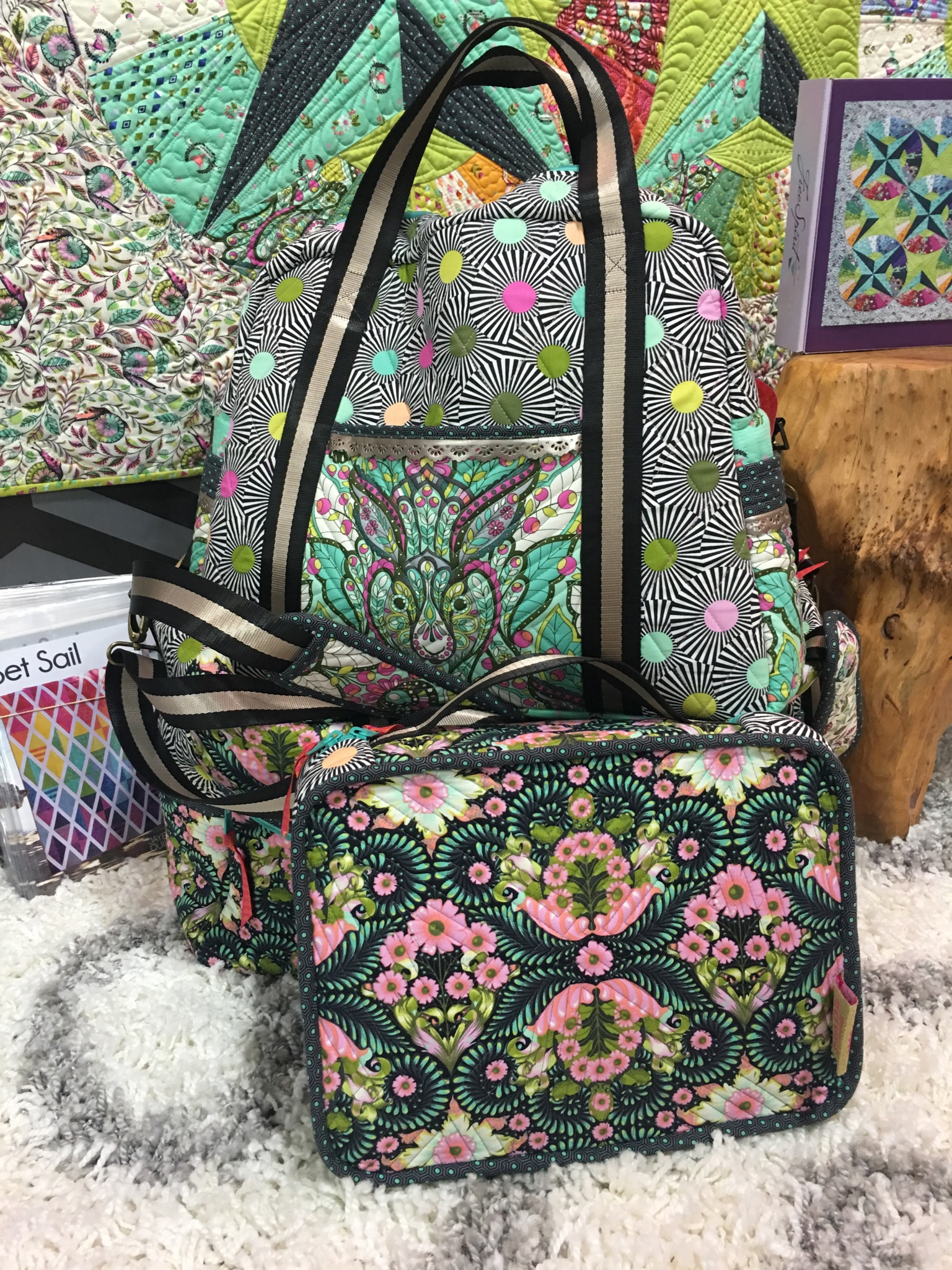 Tula Pink's Travel Bags made with Slow and Steady Fabric