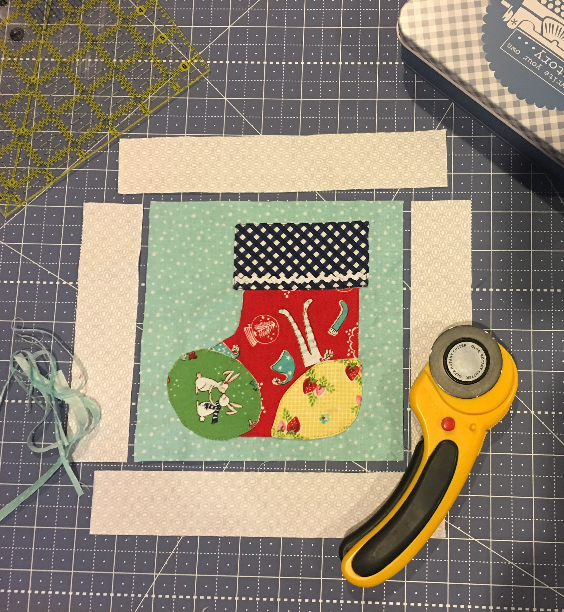 Adding the Cozy Christmas Stocking sashing strips