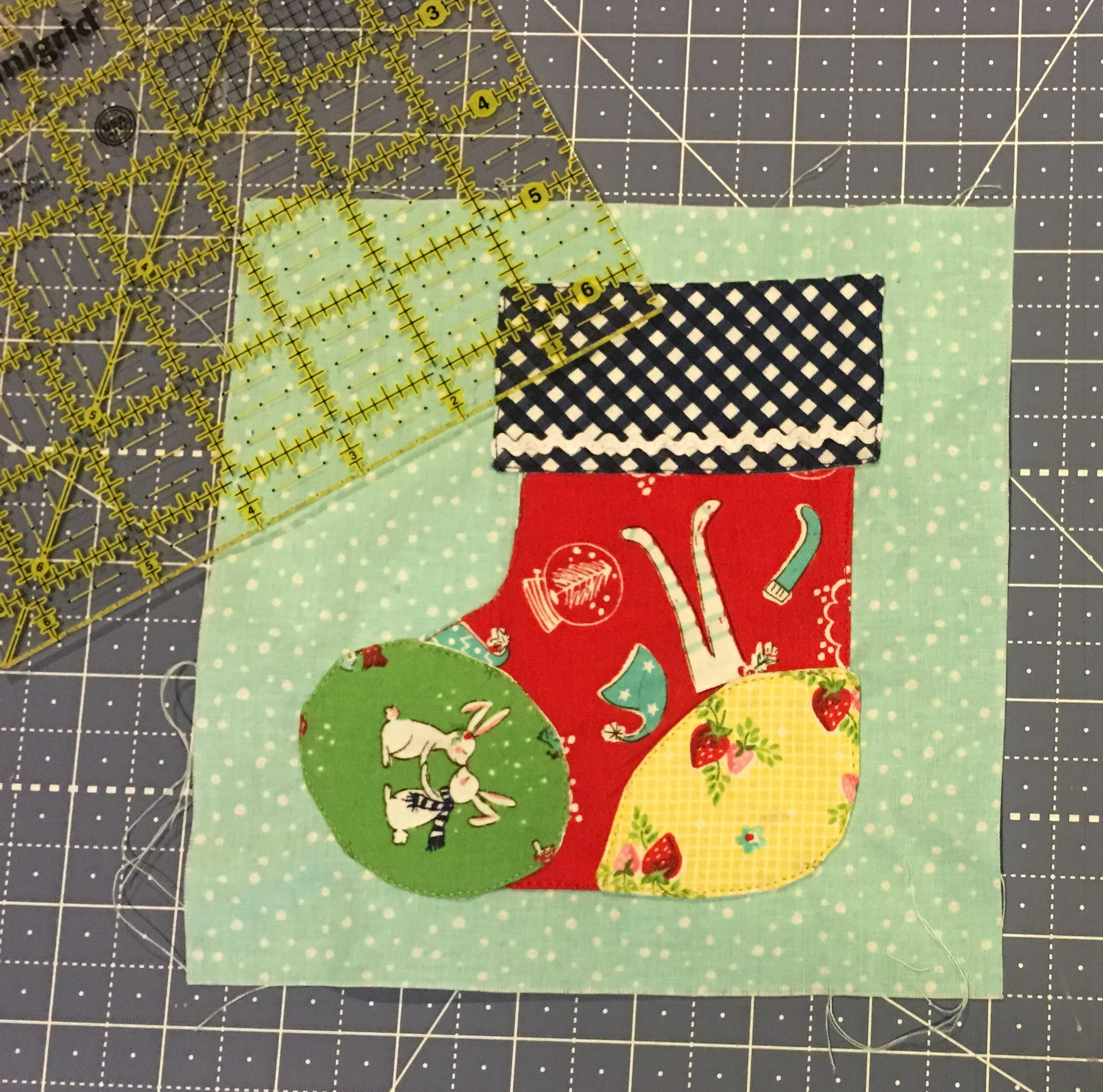 Stitched Cozy Christmas Stocking Block