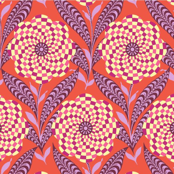 Amy Butler Eternal Sunshine Checkered Zebra Floral Elements Persimmon PWAB161