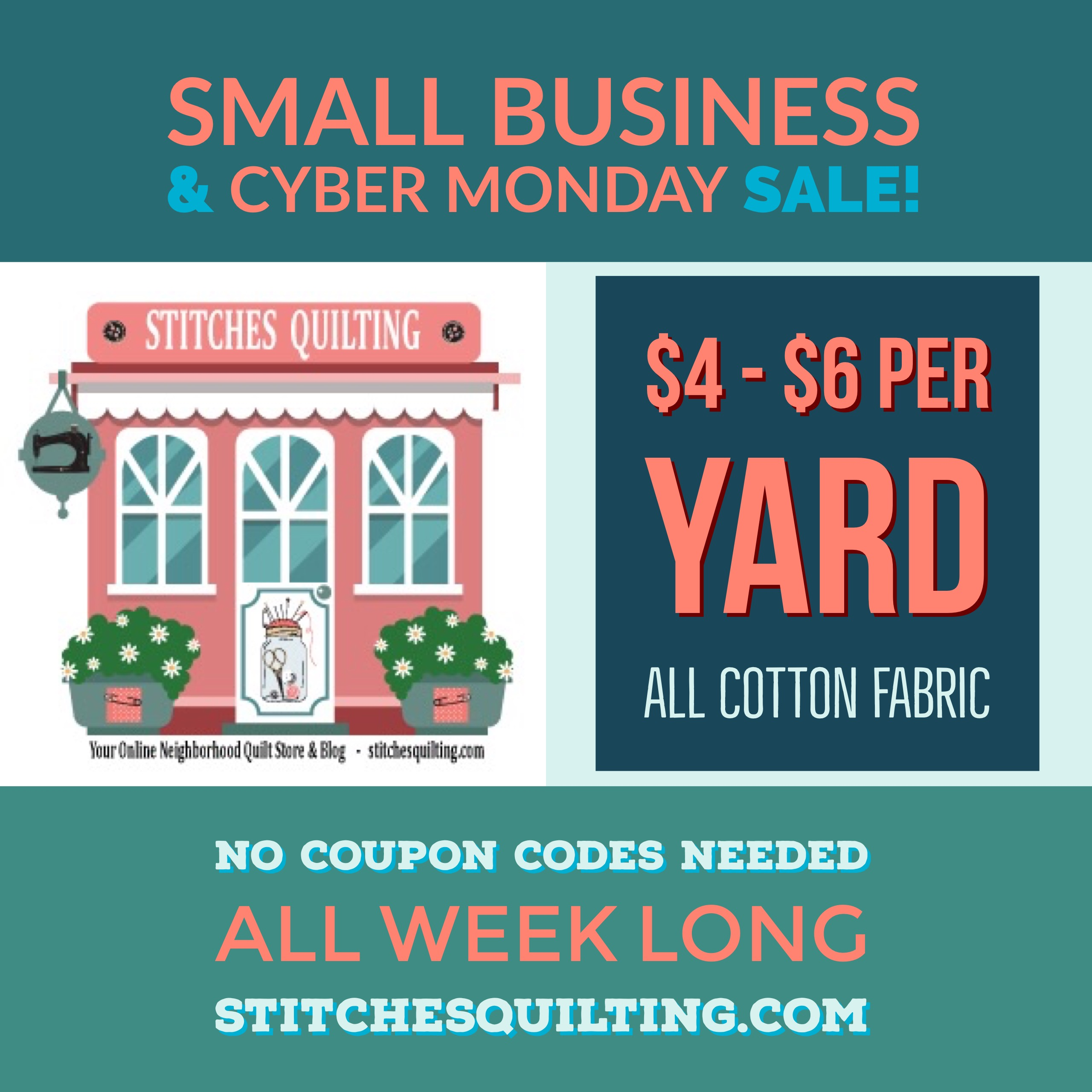 Cyber Monday Quilt Fabric Sale Week Long Sale