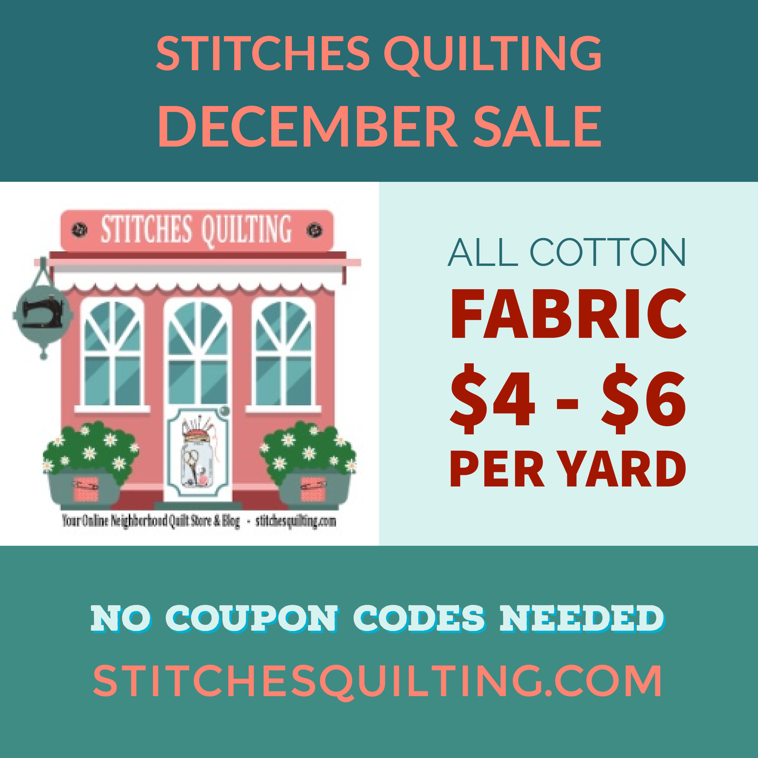 Stitches Quilting December Fabric Sale