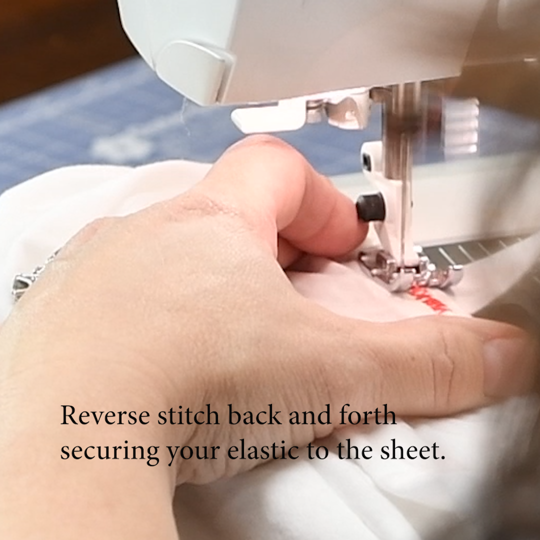 16 Reverse Zig Zag Stitch back and forth to secure the elastic on the fitted sheet