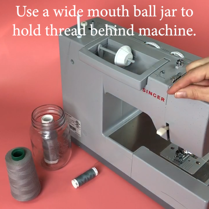 1c Quilt Hack - Wide Mouth Jar Behind Machine for Large Thread