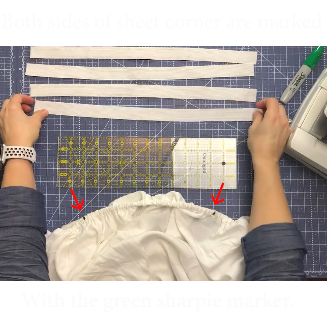 8 Both sides of corner sheet seam are marked with green sharpie