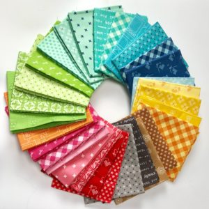 Bee Basics Lori Holt Fat Quarter Bundle fabric for the EASY Modern Half Square Triangle Quilt