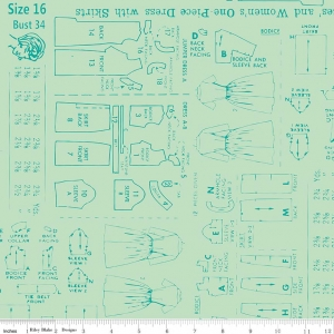 Bee Backings and Borders Sewing Pattern print in green