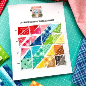 Design your very own Easy Modern Half Square Triangle Quilt with this Free design sheet!