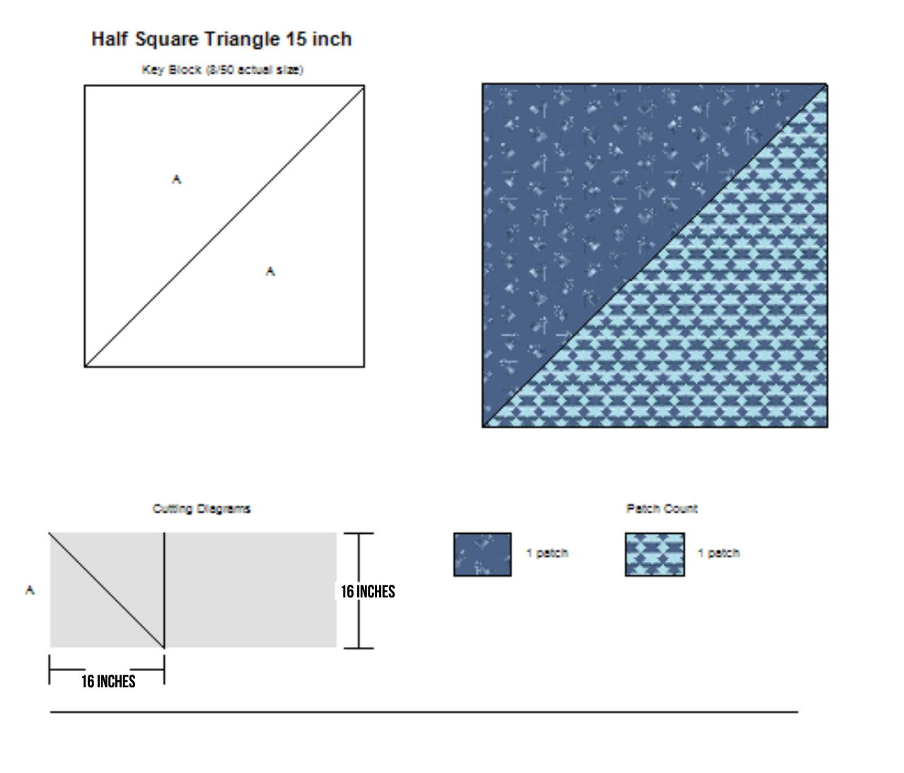 Easy Giant Half Square Triangle Cutting Diagram