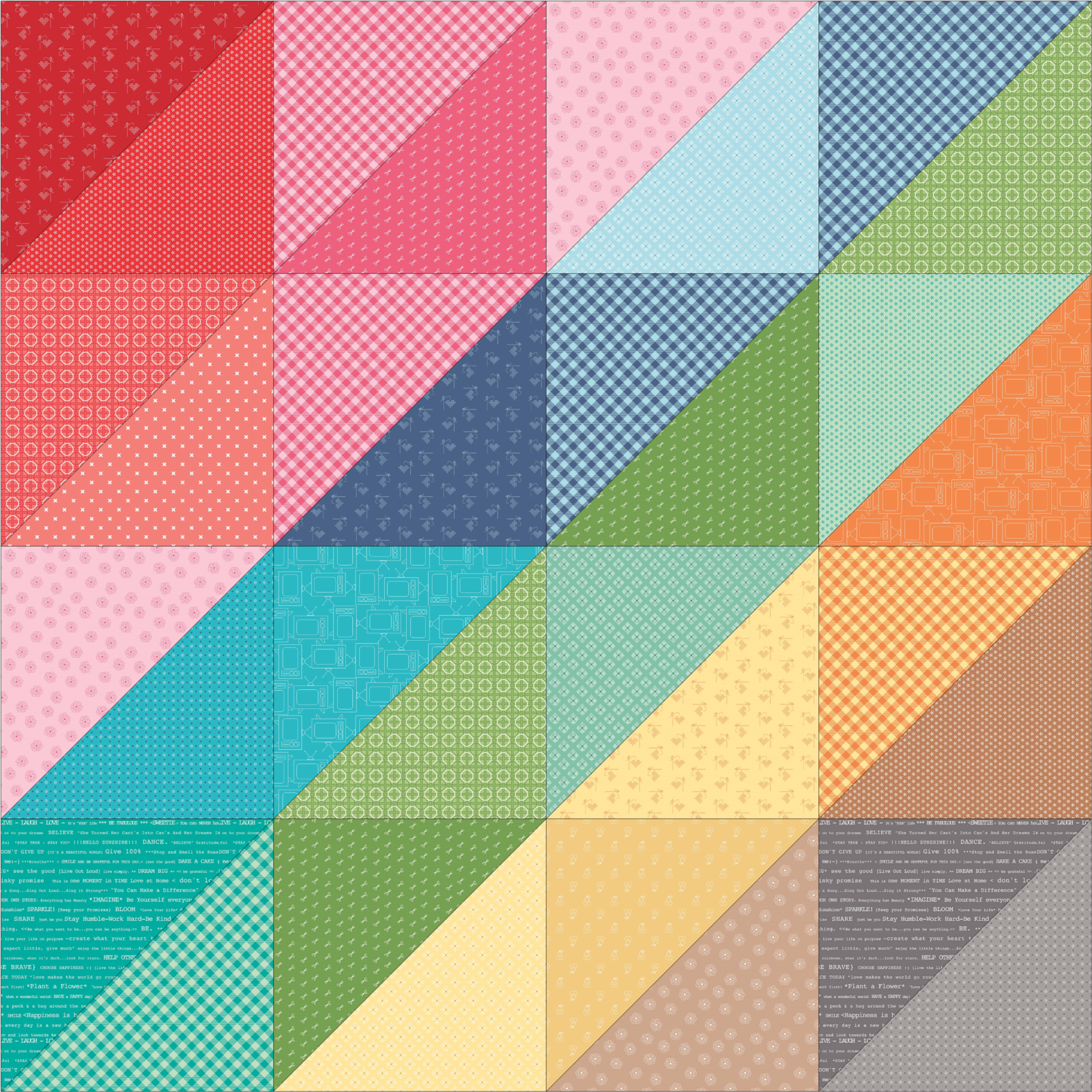 Easy Giant Half Square Triangle Quilt with Color Gradient