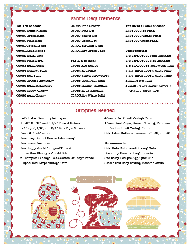 Lets Bake Quilt Supplies Needed