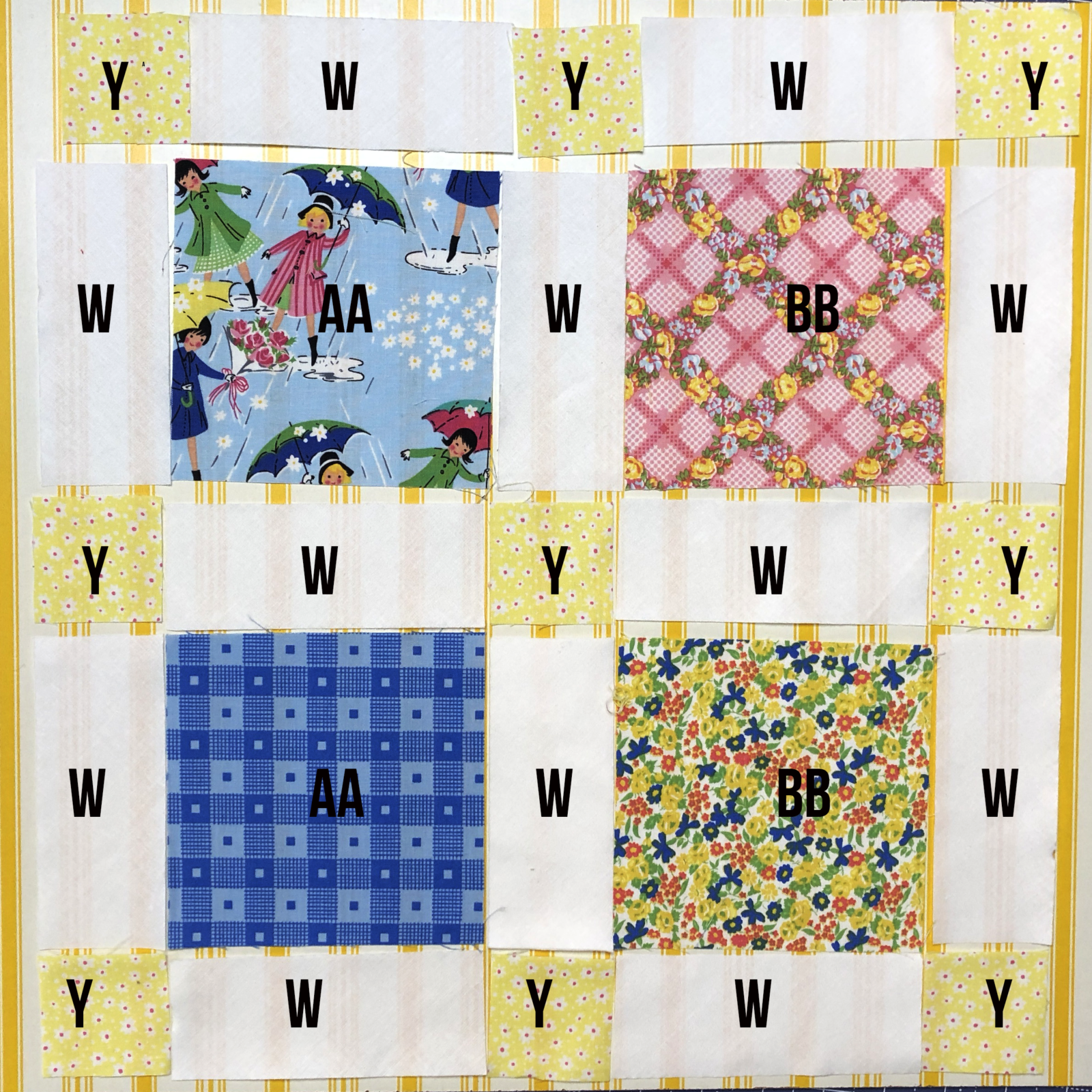 How to piece lattice quilt pattern for Mae Flowers Lattice Quilt.  Free pattern available.