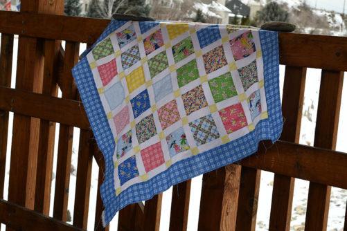 Mae Flowers Lattice Quilt Draped Lindsay Wilkes Cottage Mama Penny Rose Fabric