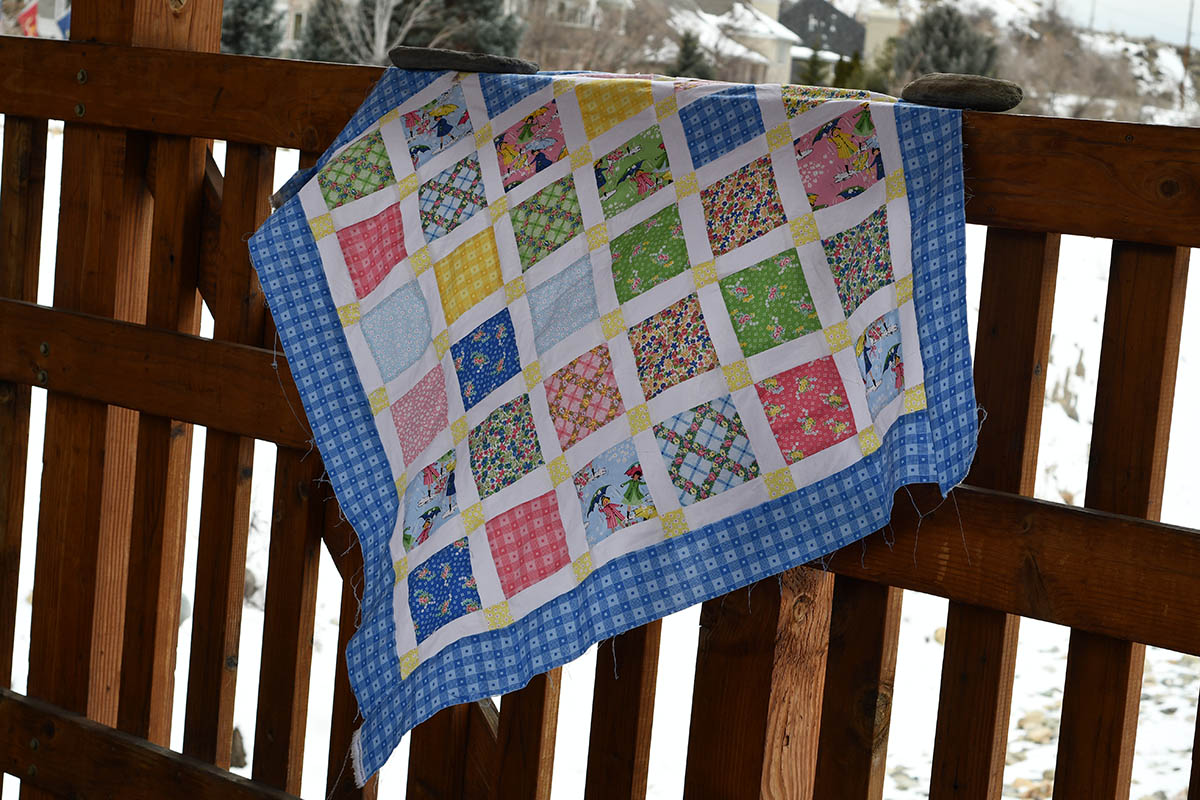 Mae Flowers Lattice Quilt Draped Lindsay Wilkes Cottage Mama Penny Rose Fabric