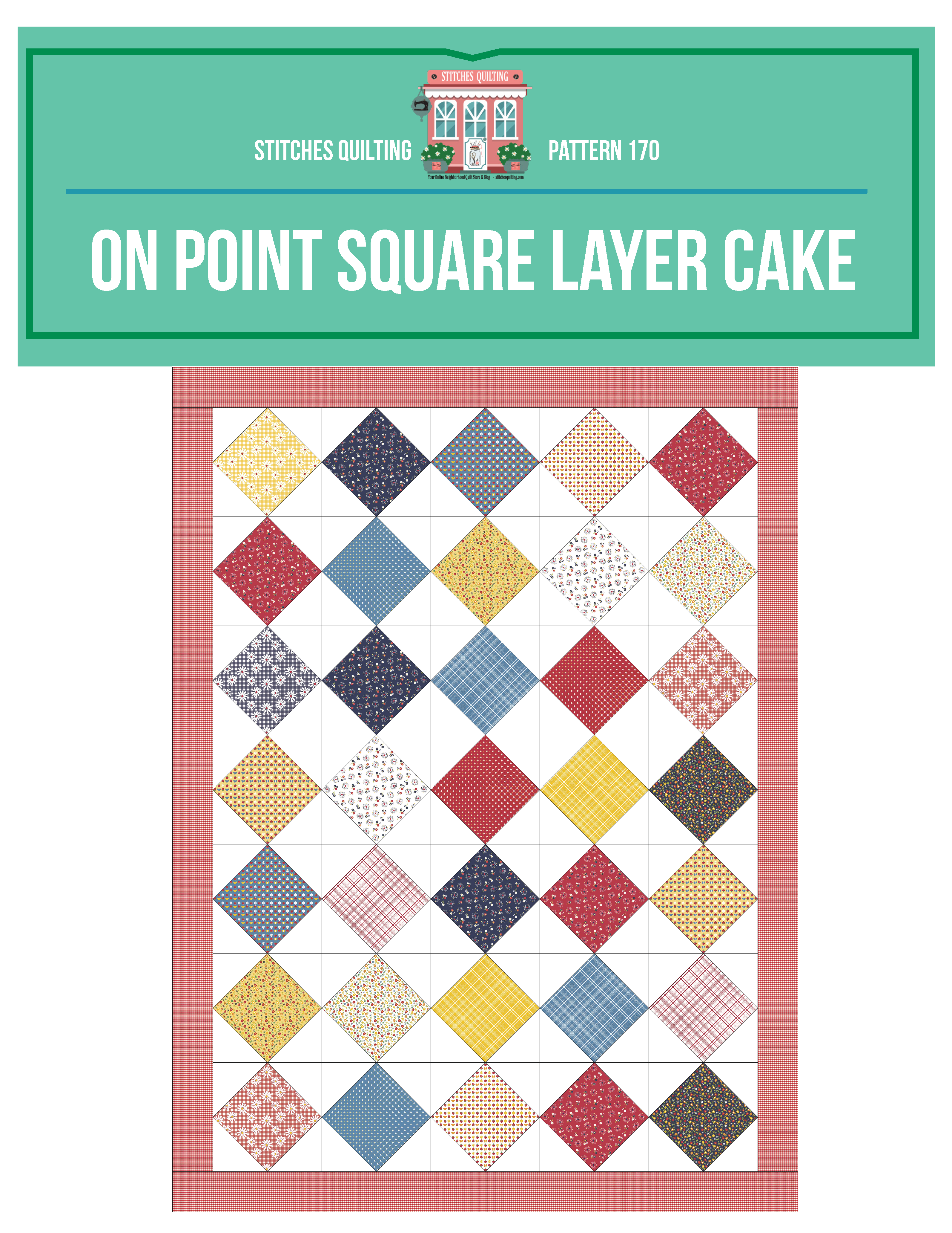 On Point 10 Inch Layer Cake Quilt Complete Tutorial Gingham Girls Fabric Amy Smart Quilt designed by Stitches Quilting Deanna Wall