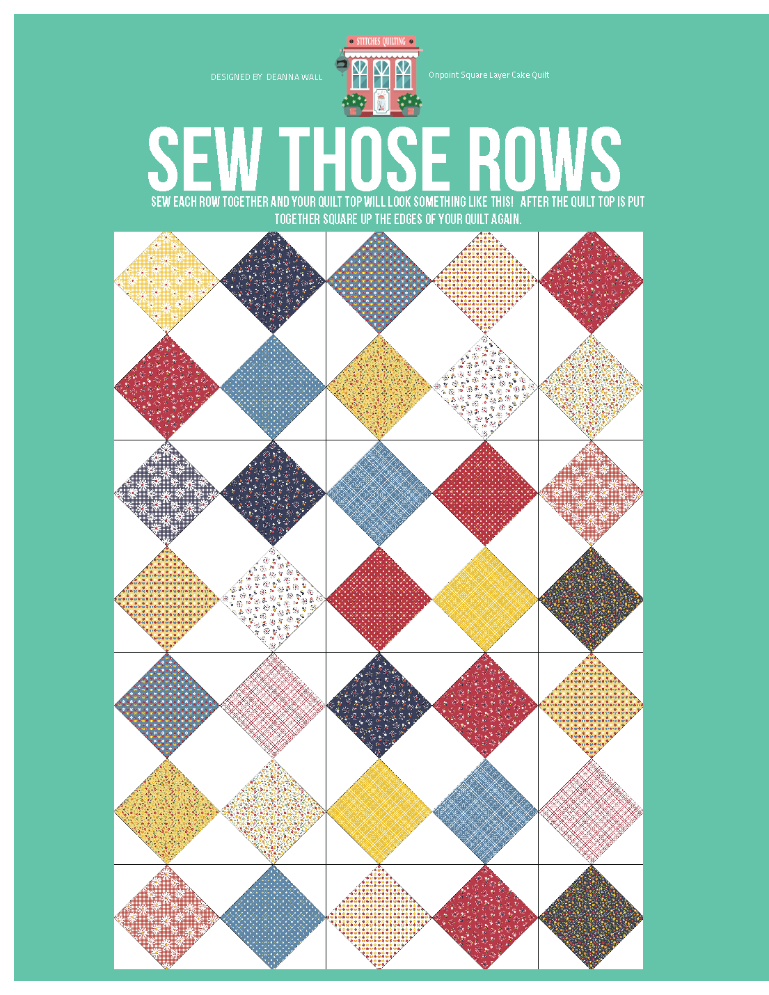 Sew your rows together to build your quilt top into one piece matching your block points.