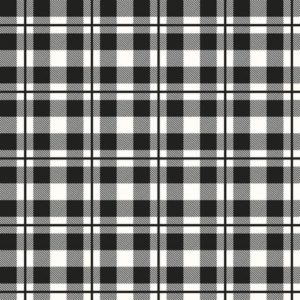 Yes Please Plaid Black and White