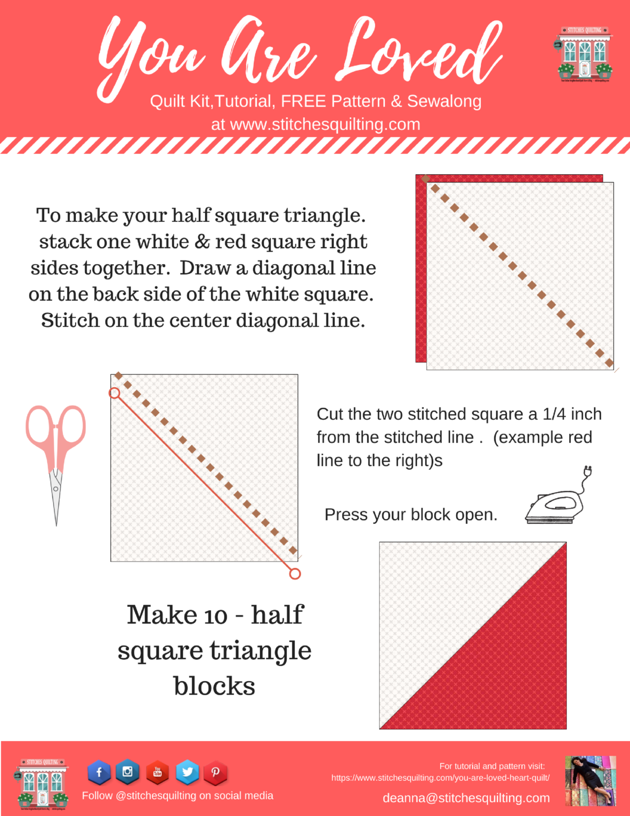 How to Make You Are Loved Half Square Triangle Quilt Block