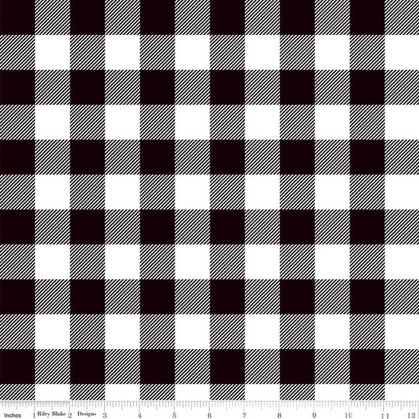 Black White Buffalo Plaid Fabric C7511